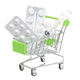 Shopping trolley with medicines on white background isolate - PhotoDune Item for Sale