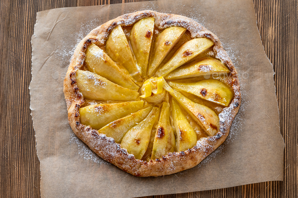 Pear and ginger galette - Stock Photo - Images