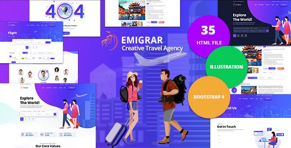Incredible Emigrar - Creative Travel Agency HTML Template