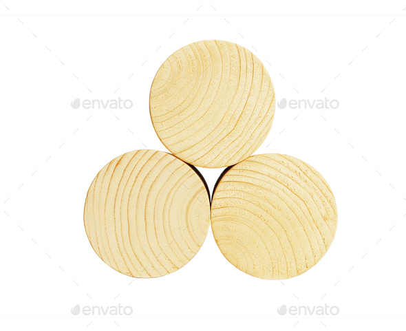 Stack of Three Wooden Cylindrical Bocks - Stock Photo - Images