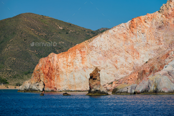 Rock formations in Aegean sea - Stock Photo - Images