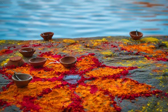 Oil Lamp Pooja Diya Lamp on ghats in Jodhpur, Rajasthan, India - Stock Photo - Images
