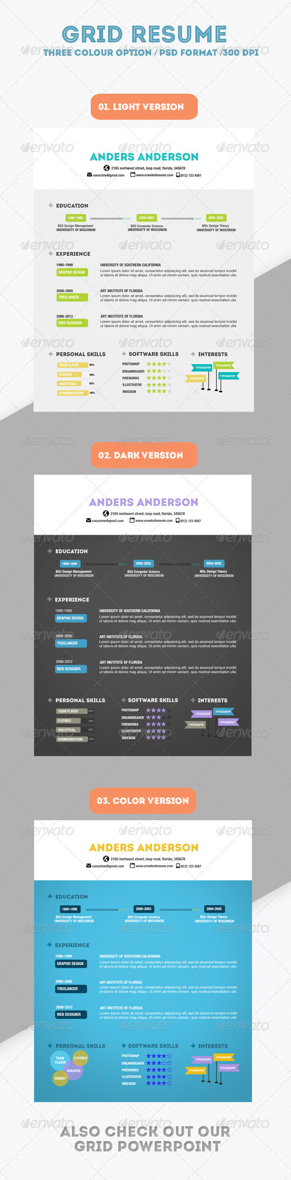 Grid Resume - Resumes Stationery