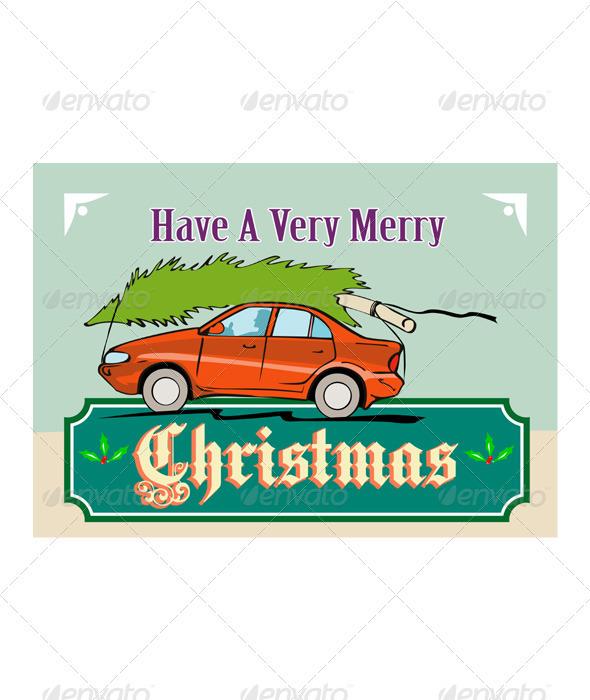 Merry Christmas Tree Car Automobile  - Christmas Seasons/Holidays