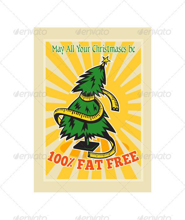 Fat Free Christmas Tree Tape Measure  - Christmas Seasons/Holidays