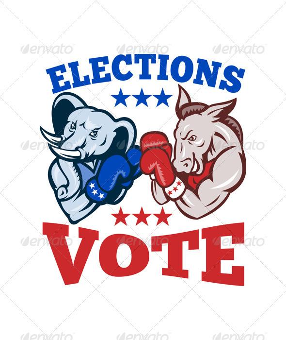 Democrat Donkey Republican Elephant Mascot Electio - Animals Characters