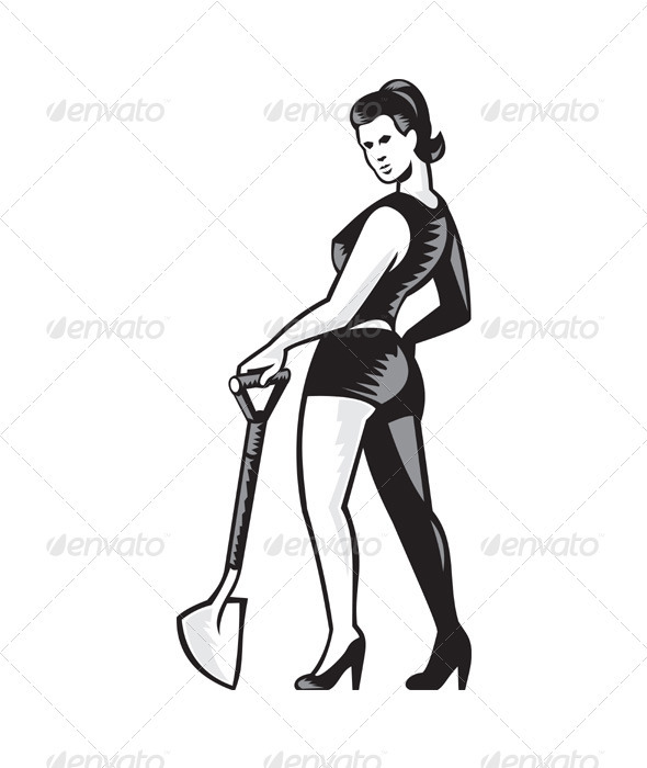 Pin-up Girl With Shovel Spade Retro  - People Characters