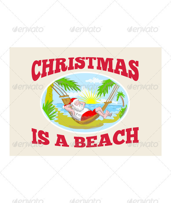 Santa Claus Father Christmas Beach Relaxing  - Christmas Seasons/Holidays