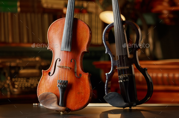 Violin in retro style and modern electric viola - Stock Photo - Images