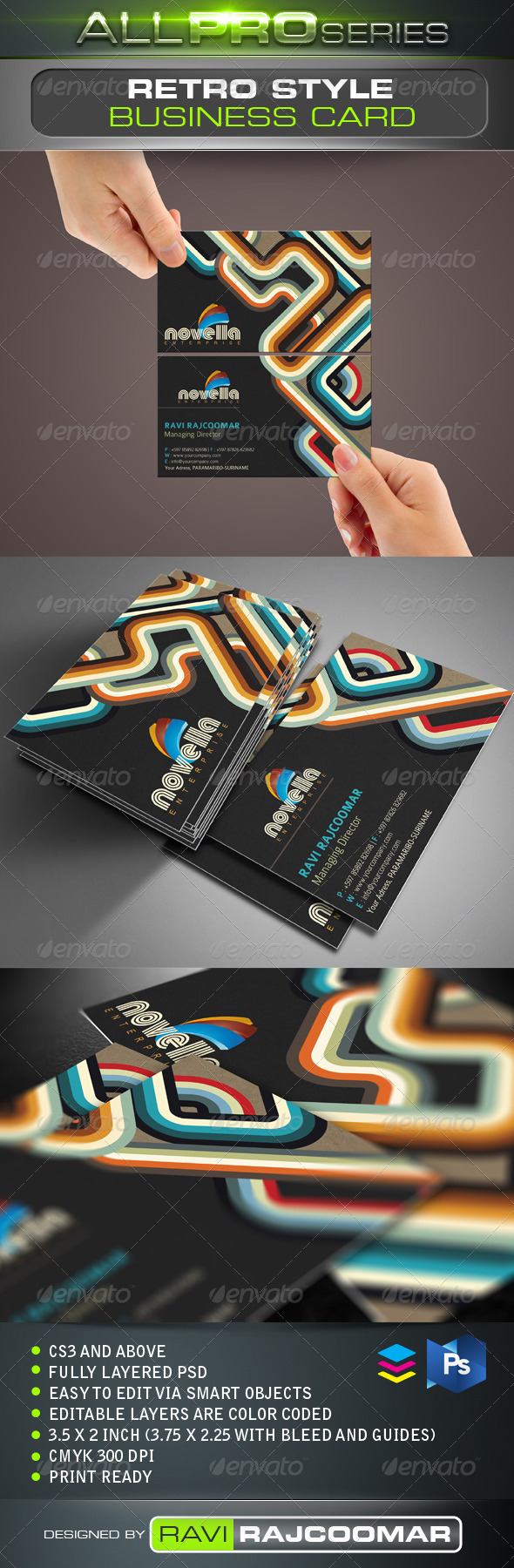 Retro style business card by ravi rajcoomar graphicriver retro style business card business cards print templates reheart Image collections