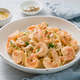 Pasta spaghetti with grilled shrimps bechamel sauce. Spaghetti with seafood rich cream - PhotoDune Item for Sale