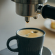 Morning ritual at breakfast with pouring coffee from coffee machine, drops of espresso dripping - PhotoDune Item for Sale