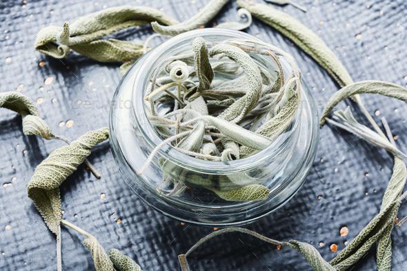 Dry sage leaf,herbal medicine - Stock Photo - Images