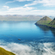 Fish farm with ship on foggy fjords of Funningur - PhotoDune Item for Sale