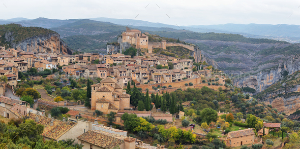 Alquezar, a beautiful medieval village in Huesca, Spain - Stock Photo - Images