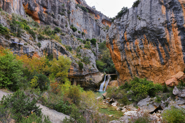 Vero river canyon from the lookout point, Alquezar, Spain - Stock Photo - Images
