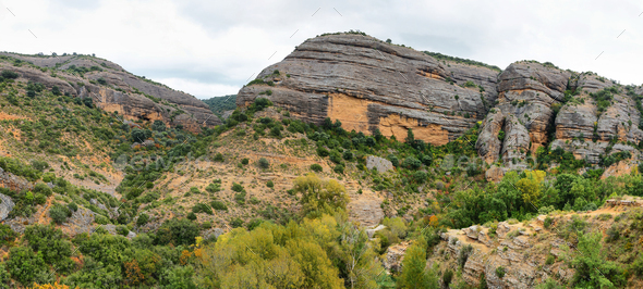 Canyon of Vero river from the lookout point, Alquezar, Spain - Stock Photo - Images