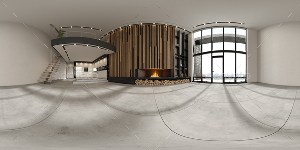 360 panorana of empty modern interior room 3D rendering - Stock Photo - Images