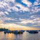 Tourist boats in sea on sunrise in Mumbai, India - PhotoDune Item for Sale