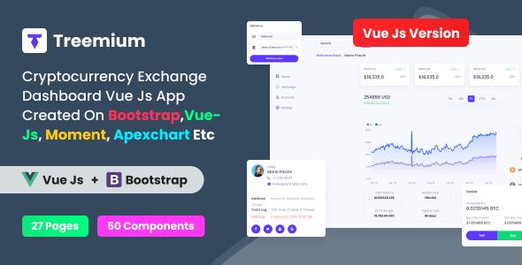 Treemium – Cryptocurrency Exchange Dashboard VUE JS App