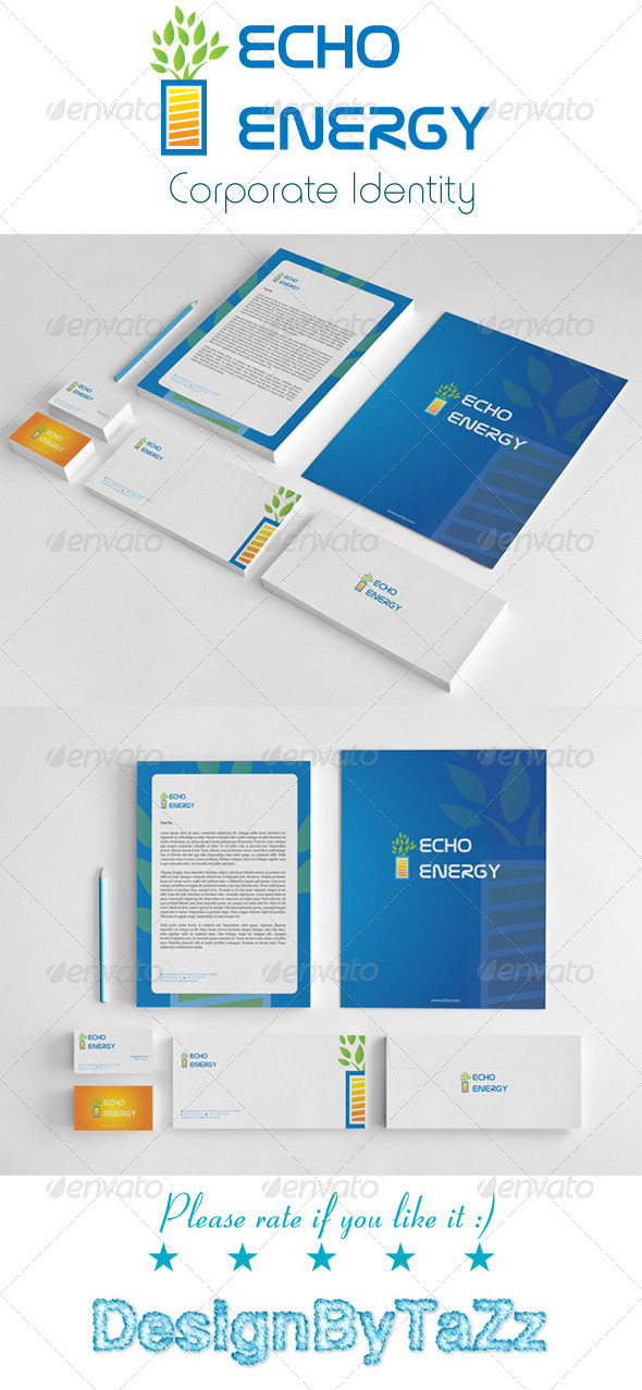 Echo Energy Corporate Identity Package - Stationery Print Templates