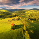 Aerial view of beautiful small village in Carpathian mountains - PhotoDune Item for Sale