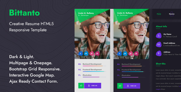 Bittanto – Creative Resume HTML5 Responsive Template
