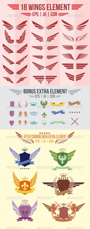 18 Wings Element - Decorative Symbols Decorative