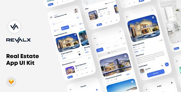 Revalx - Real estate app UI kit For Sketch