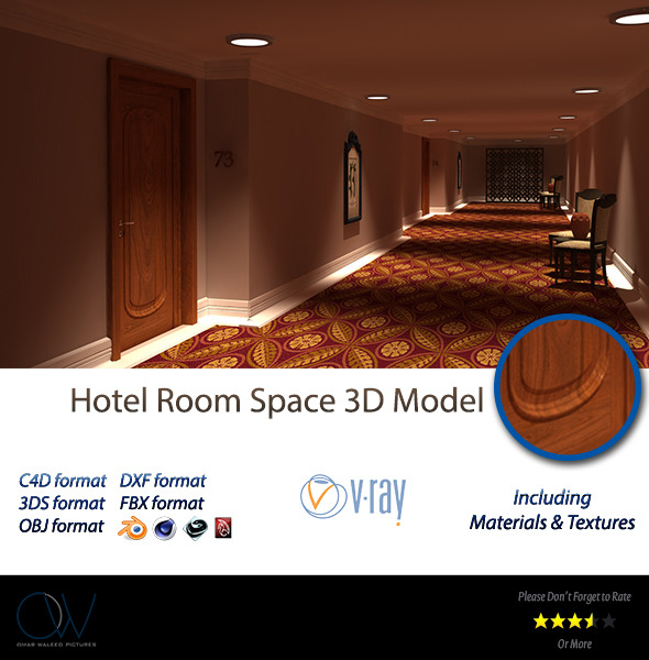 Hotel Room Space 3D Model - 3DOcean Item for Sale