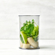 banana and various green vegetables in blender container - PhotoDune Item for Sale