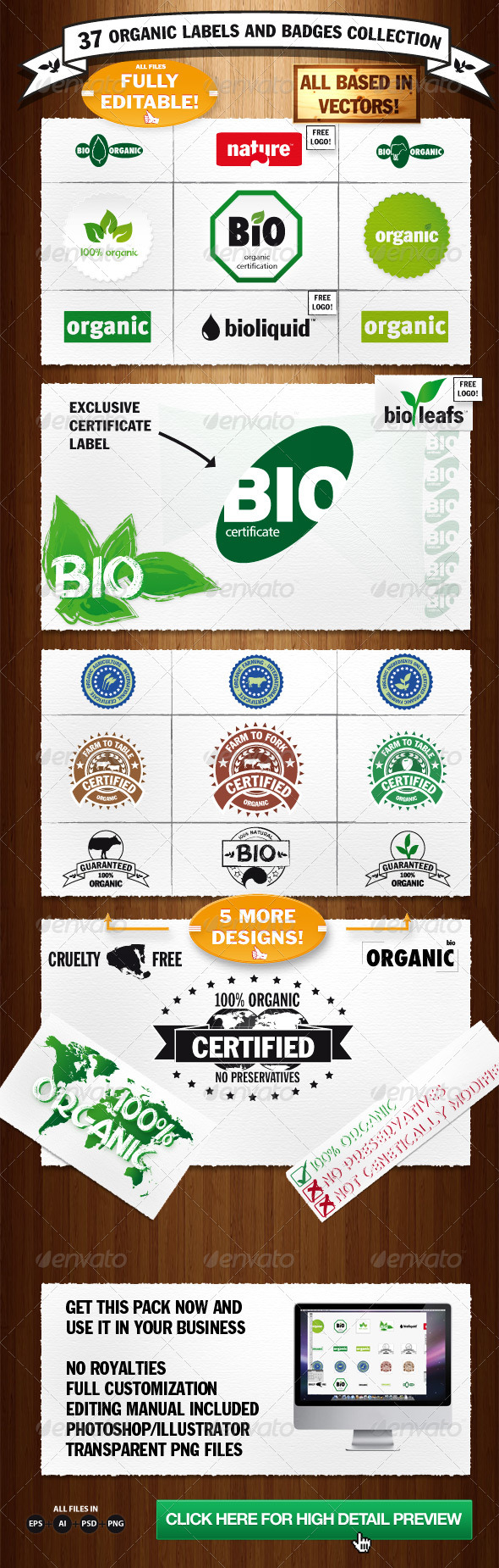 Organic Labels and Badges Collection - Decorative Symbols Decorative