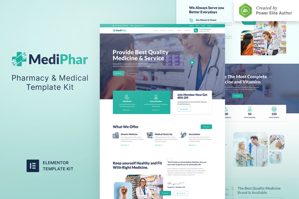 Mediphar – Pharmacy & Medical Elementor Template Kit