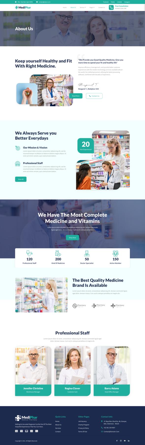 Mediphar – Pharmacy & Medical Elementor Template Kit