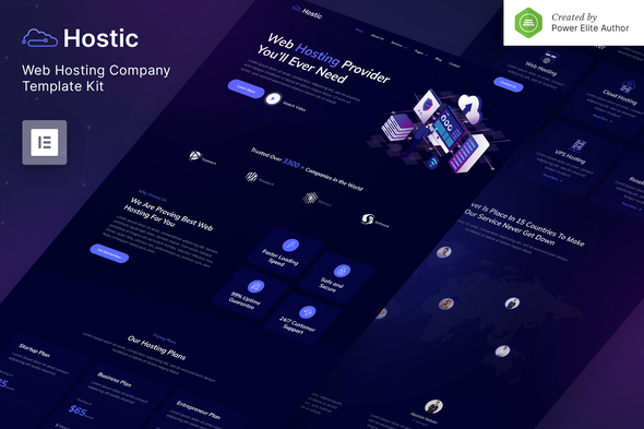 Hostic – Web Hosting Company Elementor Template Kit