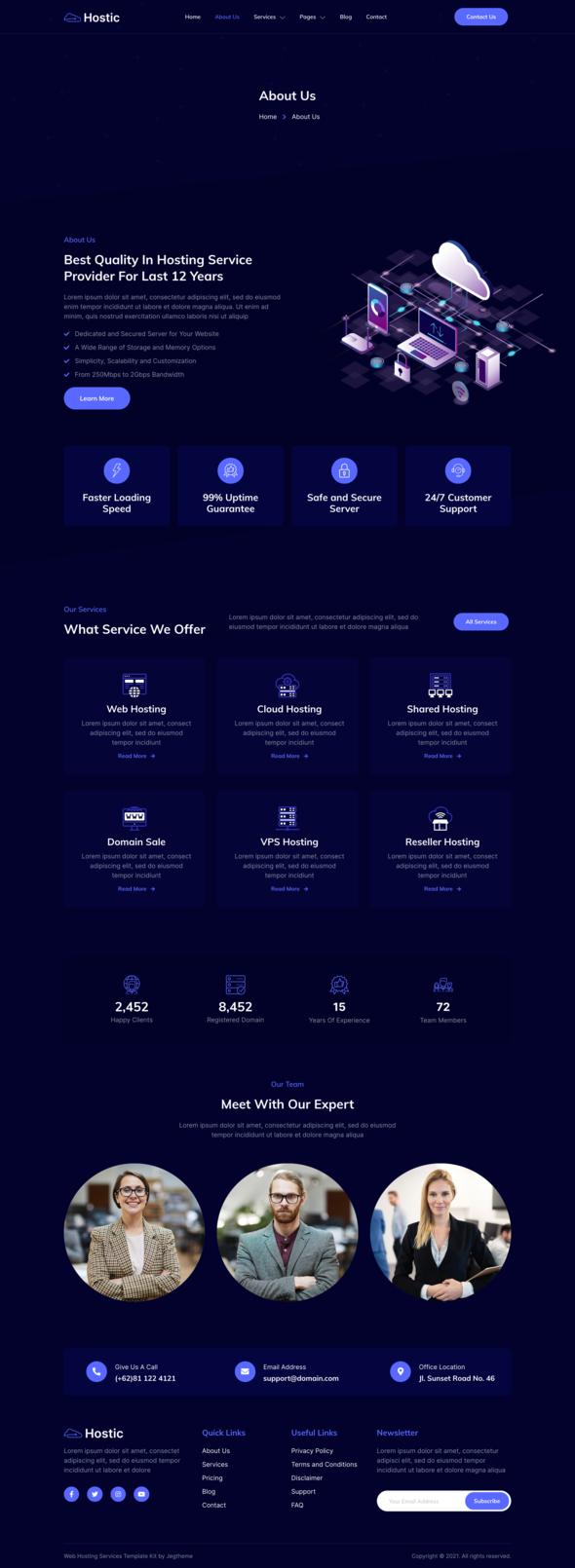 Hostic – Web Hosting Company Elementor Template Kit