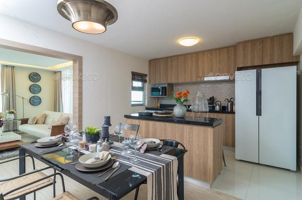 Luxury Interior kitchen, Dinning room - Stock Photo - Images