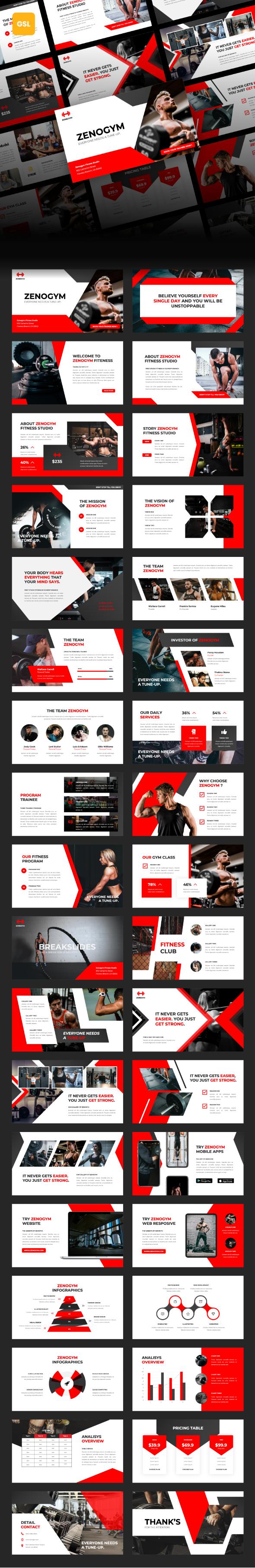 Zenogym - Fitness and Gym Google Slides Template