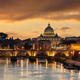 Rome Italy. San Pietro basilica in the Vatican, ponte Sant Angelo and Tiber river, sky at sunset - PhotoDune Item for Sale