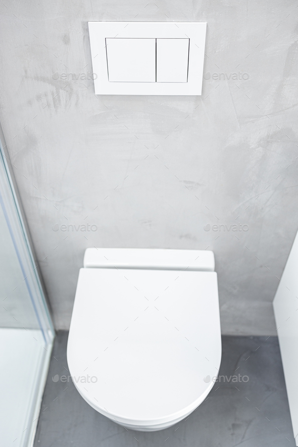 Wall mounted or suspended toilet or WC - Stock Photo - Images