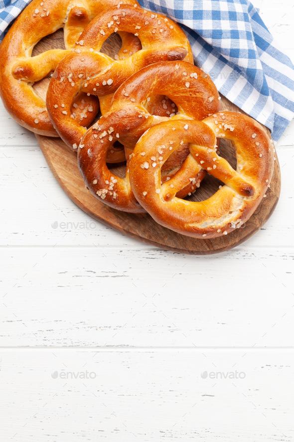 Fresh baked homemade pretzel. Classic beer snack - Stock Photo - Images