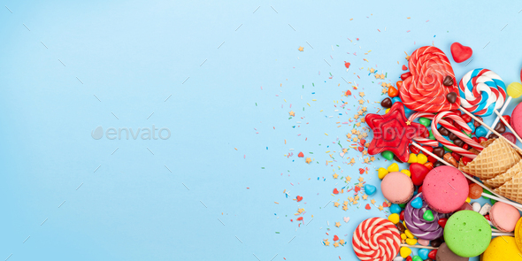 Various sweets assortment. Candy, bonbon, macaroons - Stock Photo - Images
