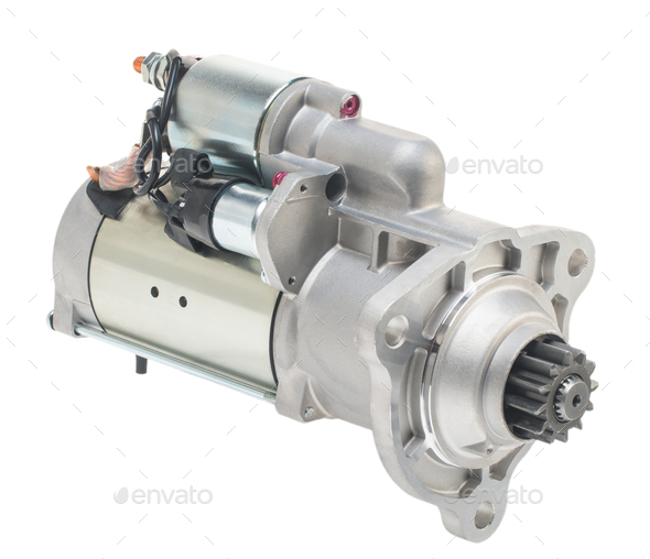 Car spare parts. Car engine starter on a white background. Isolate - Stock Photo - Images