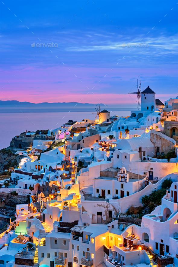 Famous greek tourist destination Oia, Greece - Stock Photo - Images