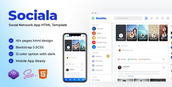 Sociala - Social Network App HTML Template