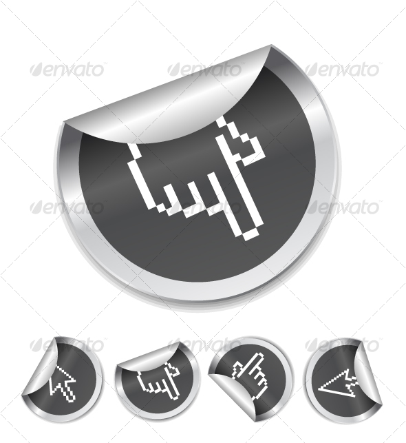 Hand cursor on sticker - Decorative Symbols Decorative