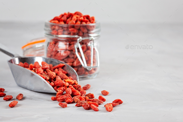 Goji berries rich source of vitamins. Healthy food concept - Stock Photo - Images