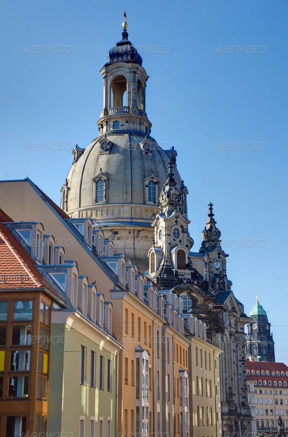 Old apartment buildings and the Frauenkirche - Stock Photo - Images