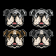 Bulldog Head Icon Illustration