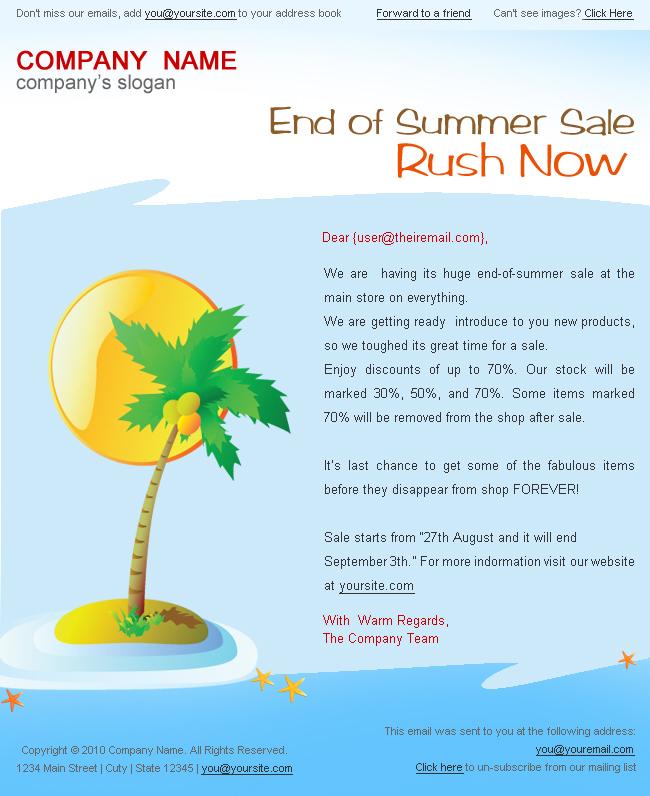 HolidaySummer Discount Sale Newsletter Styles By Bluenila - Summer newsletter template
